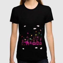 colorful circus carnival traveling in one row on white background T-shirt