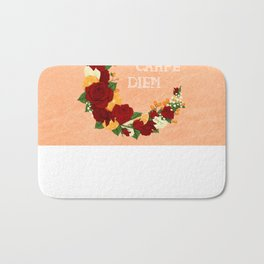 Crescent Bloom | Red roses and oranges Bath Mat