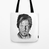 daryl Tote Bags featuring Daryl Dixon by 13 Styx
