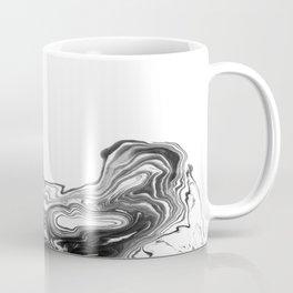 Suki - spilled ink black and white minimal modern painting wave water swirl marble marbled pattern Coffee Mug