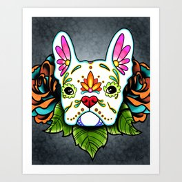 French Bulldog in White - Day of the Dead Sugar Skull Dog Art Print