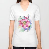 cherry blossom V-neck T-shirts featuring Cherry Blossom by A cup of grey tea