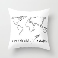 Adventure Map on White Throw Pillow