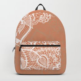 Modern hand drawn floral lace color copper tan roast illustration pattern Backpack
