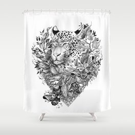 black and white jungle leopard Shower Curtain