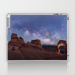 Delicate Arch Under the Starry Sky in Arches National Park Panorama Laptop & iPad Skin