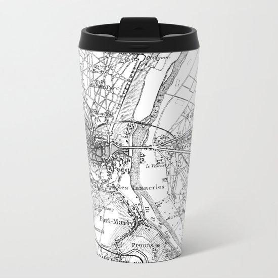 Vintage Paris Map Metal Travel Mug