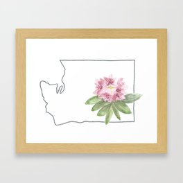 washington // watercolor rhododendron state flower map Framed Art Print