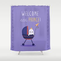 the little prince Shower Curtains featuring Welcome little prince! by Villie Karabatzia