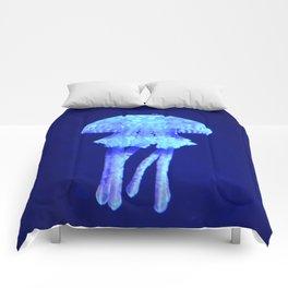 Blue jellyfish Comforters