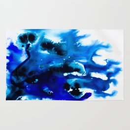 Paint 8 abstract indigo watercolor painting minimal modern canvas art affordable home decor trendy Rug
