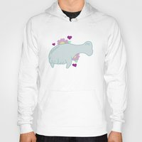 manatee Hoodies featuring Manatee by Katy Welte