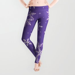 snowflakes on the blue Leggings