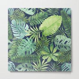 Tropical Branches on Dark Pattern 07 Metal Print