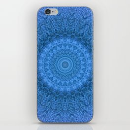 Sunflower Feather Bohemian Cool Blue Pattern \\ Aesthetic Vintage \\ Ice Snow Aqua Color Scheme iPhone Skin