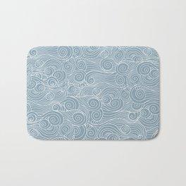 whorl pattern white blue Bath Mat