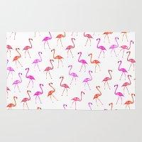 flamingos Area & Throw Rugs featuring FLAMINGoS by Monika Strigel