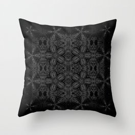 Black Slate Gray Floral Pattern Throw Pillow