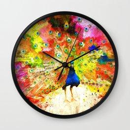 Peacock Grunge Wall Clock