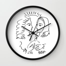 Pablo Picasso Women With A Dove 1955 T Shirt, Artwork Sketch Wall Clock