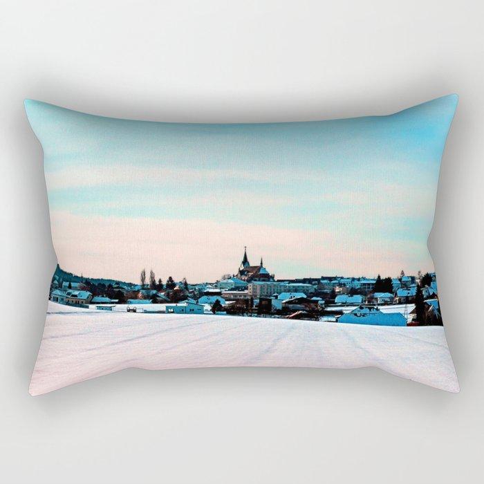 Village scenery in winter wonderland Rectangular Pillow