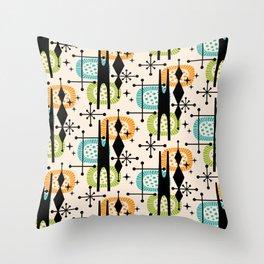 Retro Atomic Mid Century Pattern Orange Green and Turquoise Throw Pillow
