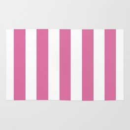 Thulian pink - solid color - white vertical lines pattern Rug