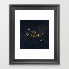 Under the stars- sparkling night typography Framed Art Print