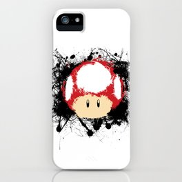 Abstract Paint Splatter Super Mushroom iPhone Case