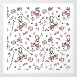 Seamless doodle valentine pattern with hearts Art Print