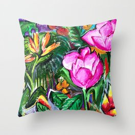 Etude with Tropical Flowers Throw Pillow