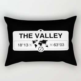 The Valley Anguilla GPS Coordinates Map Artwork with Compass Rectangular Pillow