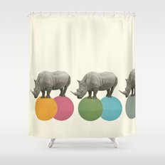 Rambling Rhinos Shower Curtain