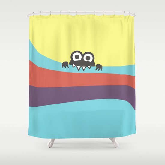 Yummy Colorful Stripes Cute Cartoon Character Shower Curtain