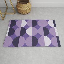 Retro circles grid purple Rug