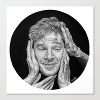 cumberbatch Canvas Prints featuring Benedict Cumberbatch  by Cécile Pellerin