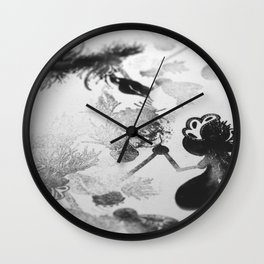 black and white floc Wall Clock