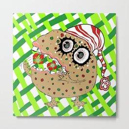 Christmas Fruitcake Monster, green lattice background Metal Print