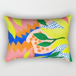 Bold Flower Pattern Blue Background Rectangular Pillow