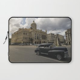 Black american car passing in front of the Revolution Museum, La Havana, Cuba. Laptop Sleeve