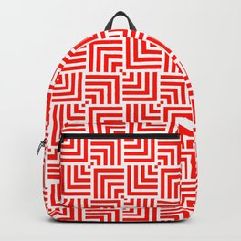 White And Red Square Geographic Design Backpack