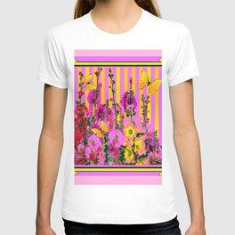 YELLOW BUTTERFLIES  PINK FLORAL GARDEN  ABSTRACT T-shirt