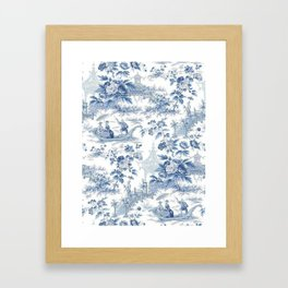 Powder Blue Chinoiserie Toile Framed Art Print
