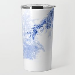 Icy forest in inky blue Travel Mug