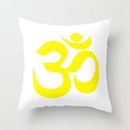 Yellow AUM / OM Reiki symbol on white background Throw Pillow