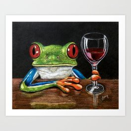 """""""Cabernet"""" - Frogs After Five collection Art Print"""
