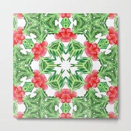 Holly Jolly Christmas Mandala (Large Pattern) Metal Print