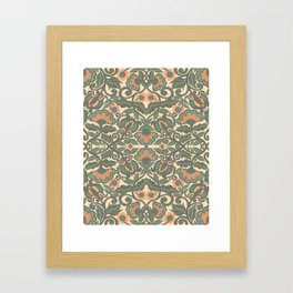 Green Vines Folk Art Flowers Pattern Framed Art Print