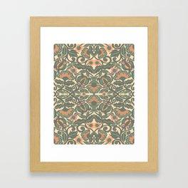 Green Vines Folk Art Flowers Pattern Framed Art Print