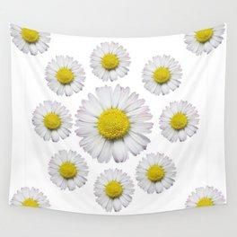 ALL WHITE SHASTA DAISY FLOWERS ART Wall Tapestry